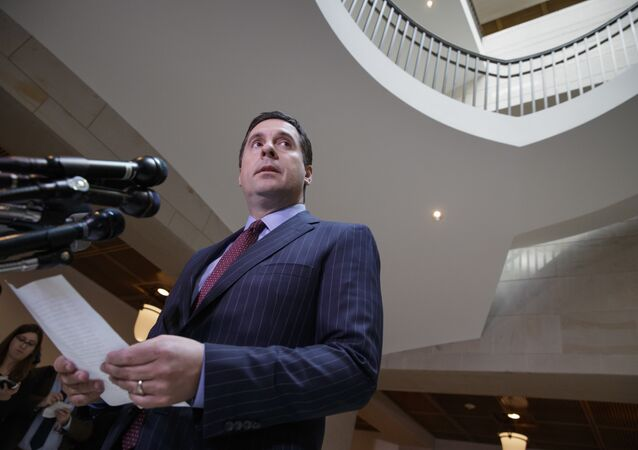 House Intelligence Committee Chairman Rep. Devin Nunes, R-Calif. gives reporters an update about the ongoing Russia investigation adding that President Donald Trump's campaign communications may have been monitored during the transition period as part of an incidental collection, Wednesday, March 22, 2017, on Capitol Hill in Washington.
