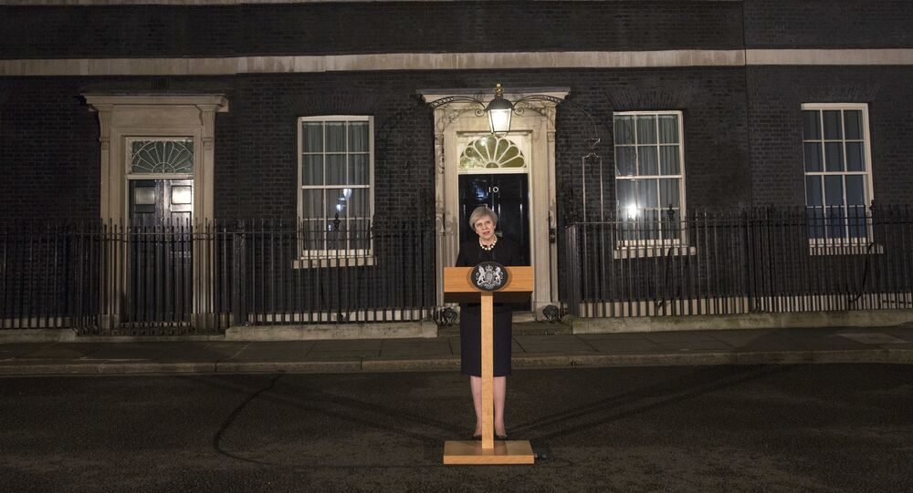Britain's Prime Minister Theresa May speaks to the media outside 10 Downing street in London, Wednesday March 22, 2017, following a terror attack in the Westminster area of London earlier Wednesday.
