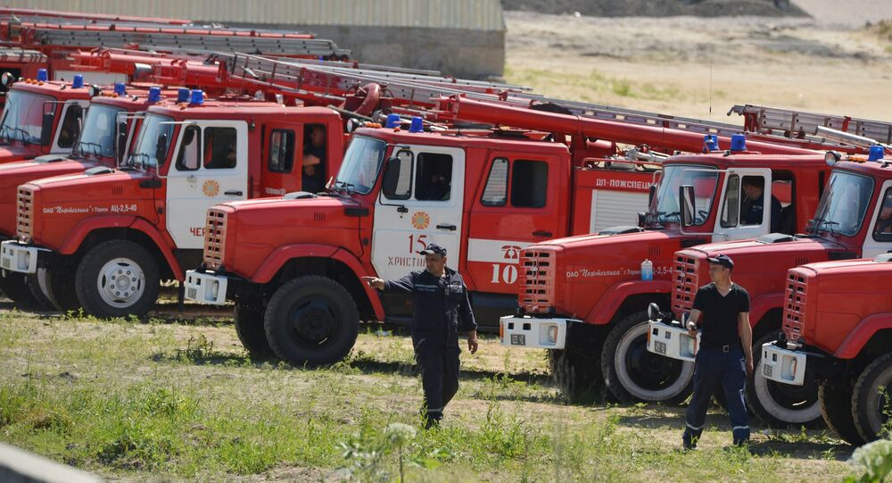 Fire engines and staff