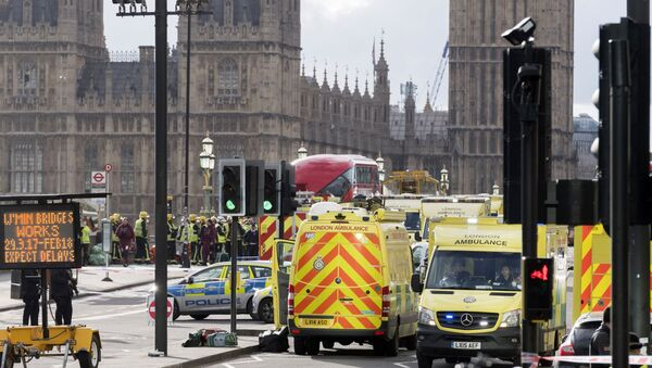 Police officers cordon off the territory near the U.K. Parliament in London where an assailant attacked a police officer and pedestrians. - Sputnik International