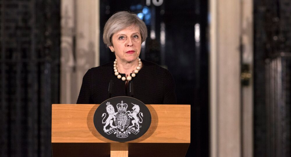 Britain's Prime Minister Theresa May makes a statement at Downing street in London, Britain, March 22, 2017 following the attack in Westminster.