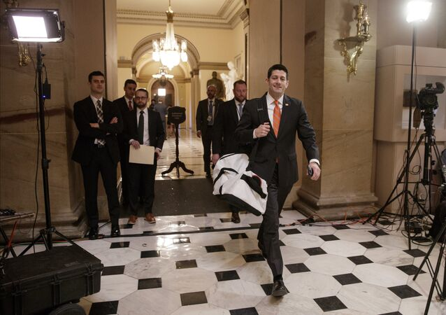 House Speaker Paul Ryan of Wis. strides to his office on Capitol Hill in Washington, Thursday, March 23, 2017, as he and the Republican leadership scramble for votes on their health care overhaul in the face of opposition from reluctant conservatives in the House Freedom Caucus.