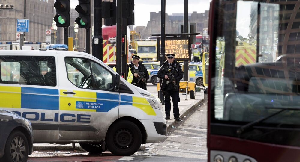 Police officers cordon off the territory near the U.K. Parliament in London where an assailant attacked a police officer and pedestrians