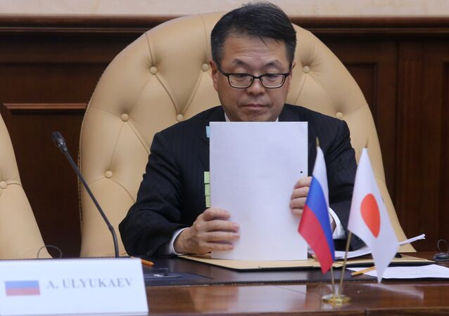 Minister for Economic Cooperation with Russia Hiroshige Seko at a Moscow meeting of the Russian-Japanese high-level working group on cooperation plans (File)