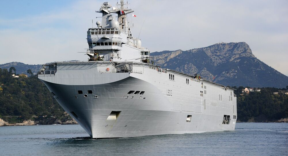 The French Mistral high-tech amphibious helicopter carrier assault and command ship is moored on February 18, 2011 in the bay of Toulon, southern France