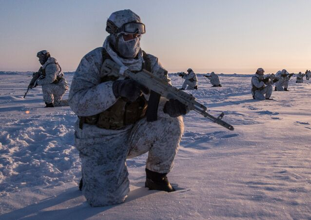 Drill of special ops unit of Chechen Republic near North Pole