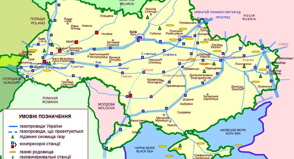 Map of Ukraine's immense gas transit network, most of it built during the Soviet period and in need of modernization.
