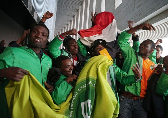Fans at the friendly match between Russia and Cote d'Ivoire