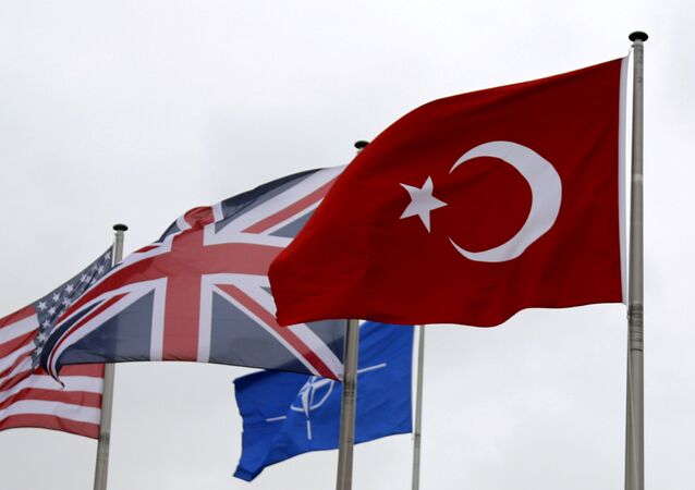 A Turkish flag (R) flies among others flags of NATO members during the North Atlantic Council (NAC) at the Alliance headquarters in Brussels, Belgium, July 28, 2015