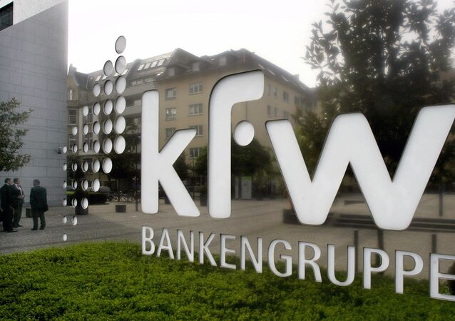 The logo of German KfW bank is seen in Frankfurt, central Germany, Thursday, Sept. 18, 2008