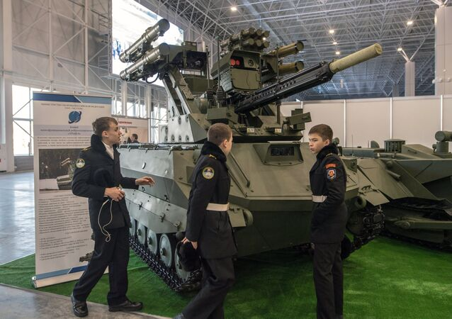 Uran 9 fighting multi-purpose robotics complex at the exhibition during the Robotization of the Russian Armed Forces 2nd Military & Scientific Conference at Patriot Congress and Exhibition Center. File photo