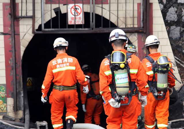 Rescuers in the mine in China (File)