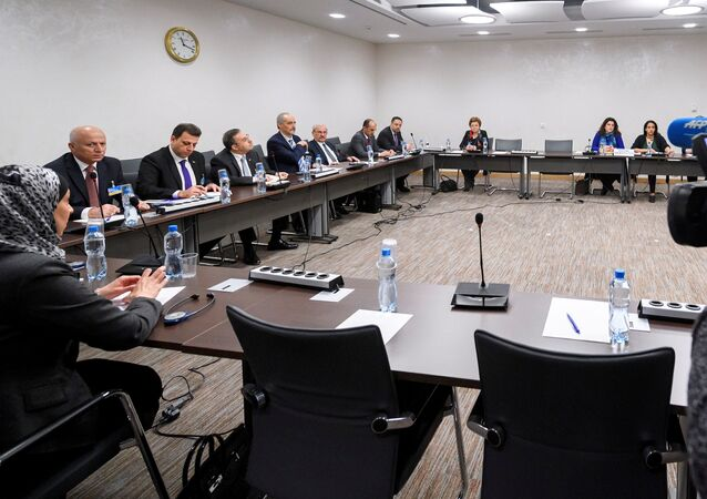 General view of the Syrian government delegation the start of a meeting between UN Special Envoy for Syria and Syria's government delegation during Syria peace talks in Geneva, Switzerland March 25, 2017