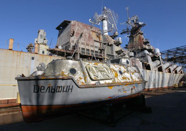 Missile cruiser Ukraine at the Nikolayev Shipbuilding Yard in Ukraine