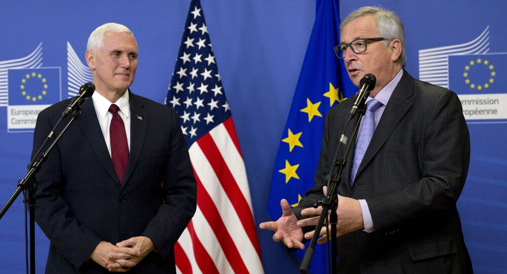 United States Vice President Mike Pence, left, and European Commission President Jean-Claude Juncker address a media conference prior to a meeting at EU headquarters in Brussels on Monday, Feb. 20, 2017