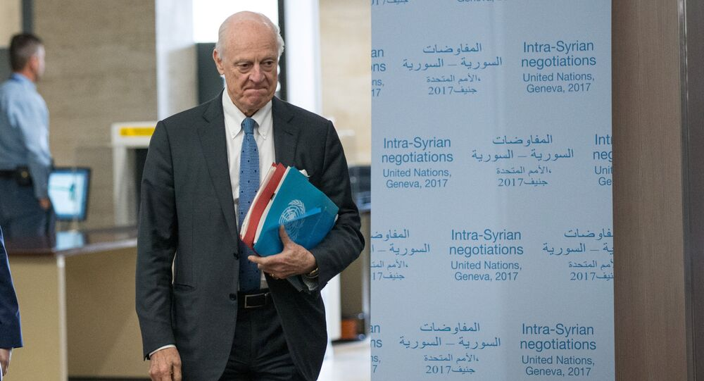 UN Special Envoy for Syria Staffan de Mistura arrives for a meeting of Intra-Syria peace talks with Syria's opposition delegation at Palais des Nations in Geneva, Switzerland, March 25, 2017
