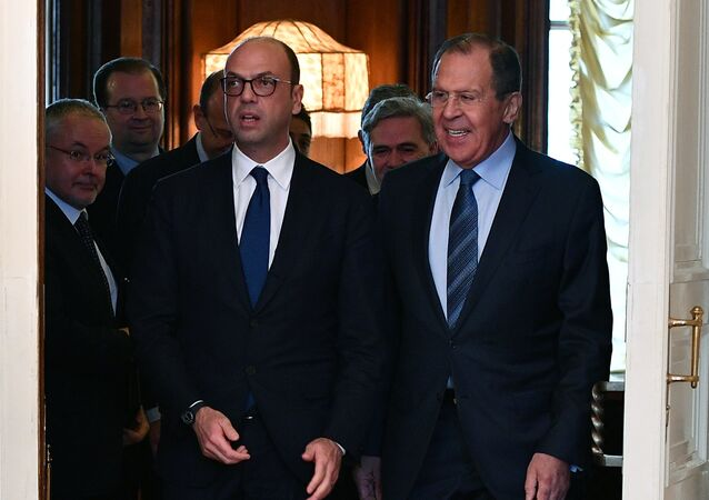 Russian Foreign Minister Sergei Lavrov meets with his Italian counterpart Angelino Alfano