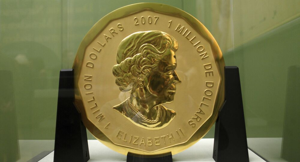 Dec. 12, 2010 file photo shows the gold coin 'Big Maple Leaf' in the Bode Museum in Berlin