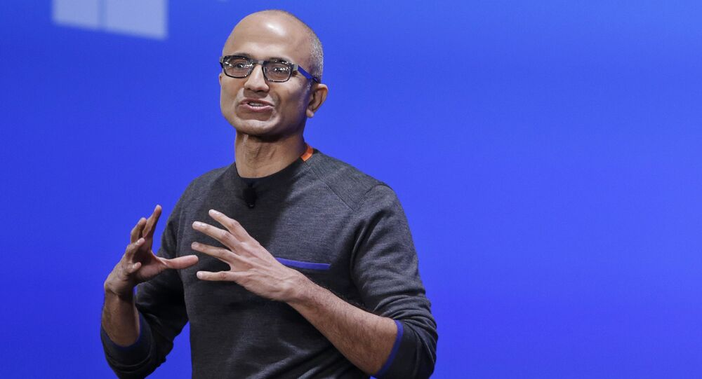 In this Jan. 21, 2015, file photo, Microsoft CEO Satya Nadella speaks at an event demonstrating the new features of Windows 10 at the company's headquarters in Redmond, Wash.