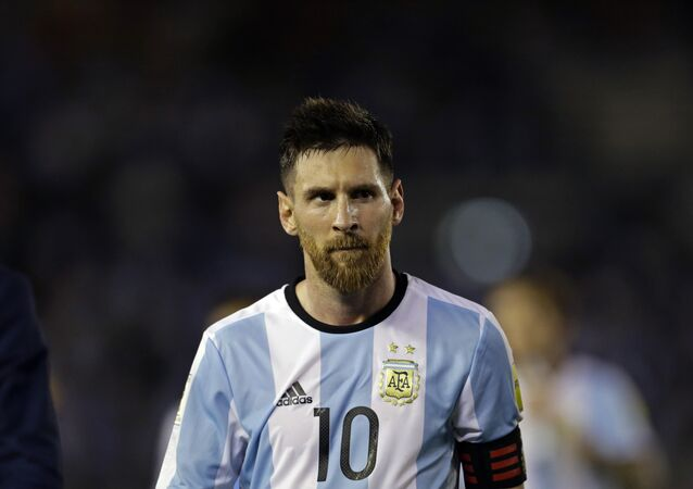 Argentina's Lionel Messi leaves the pitch after a 2018 Russia World Cup qualifying soccer match between Argentina and Chile at the Monumental stadium in Buenos Aires, Argentina