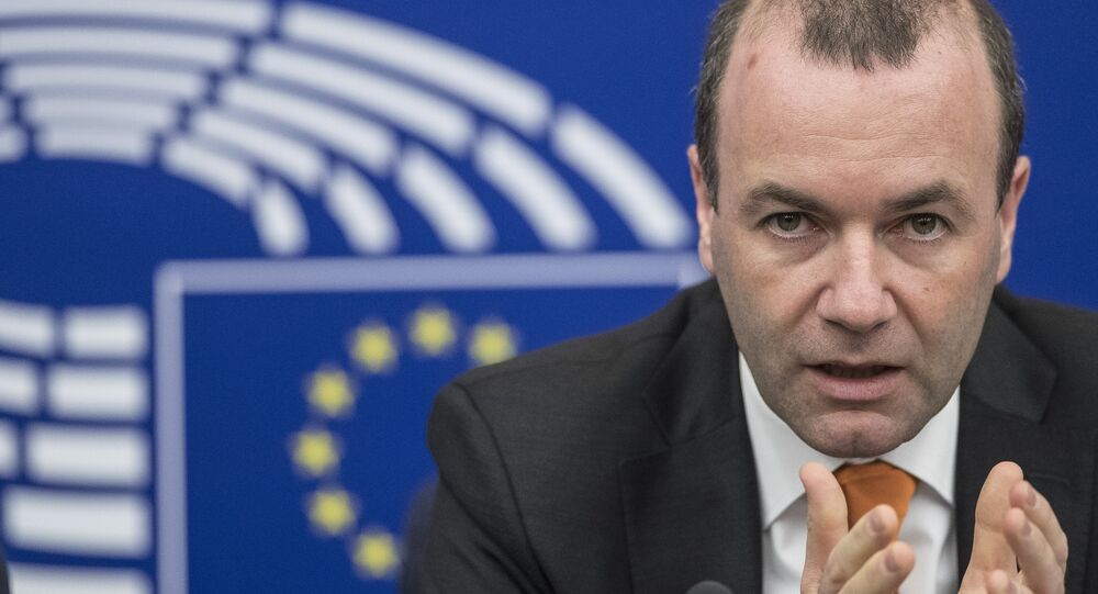 Chairman of the European People's Party group of the European Parliament Manfred Weber gestures during a press briefing in European Parliament in Strasbourg, eastern France, Tuesday, March 14, 2017.