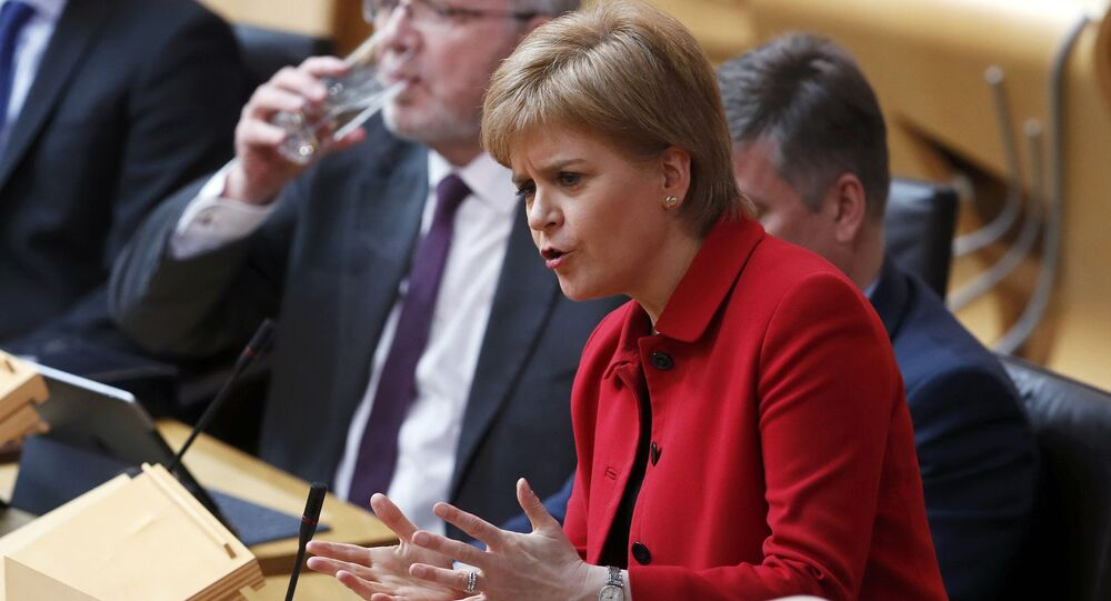 Scotland's First Minister Nicola Sturgeon speaks in the chamber on the second day of the 'Scotland's Choice' debate on a motion to seek the authority to hold an indpendence referendum, at the Scottish Parliament in Edinburgh