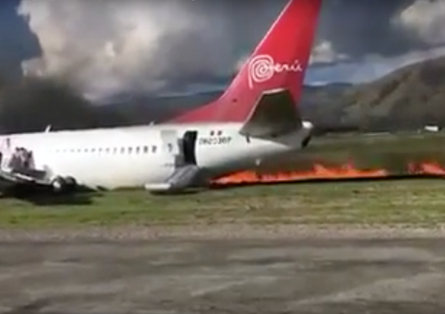 Peruvian Airlines reports all passengers aboard its jet that caught fire at Jauia airport are safe.