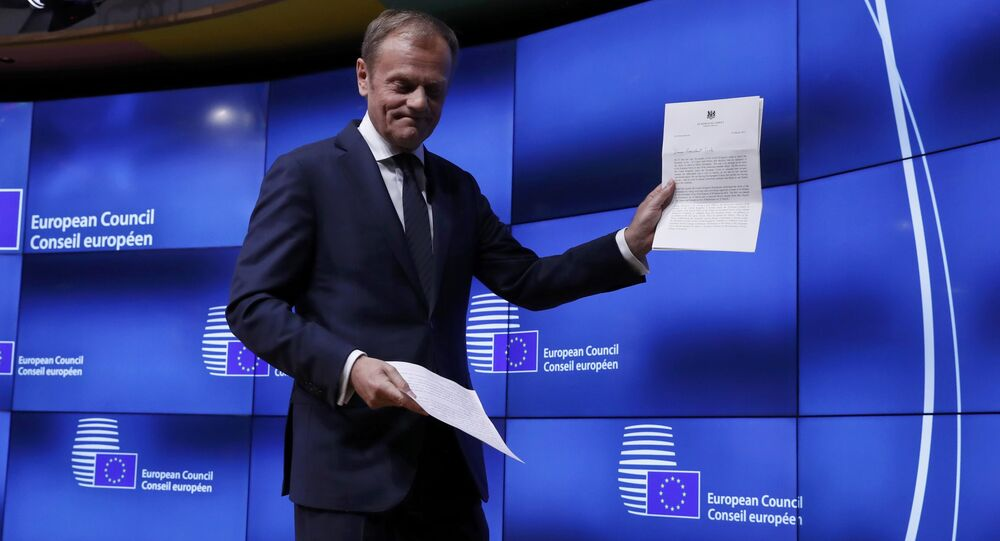 European Council President Donald Tusk leaves after a news conference after receiving British Prime Minister Theresa May's Brexit letter in notice of the UK's intention to leave the bloc under Article 50 of the EU's Lisbon Treaty to EU Council President Donald Tusk in Brussels, Belgium March 29, 2017