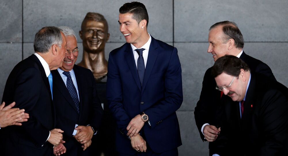 Real Madrid forward Cristiano Ronaldo attends the ceremony to rename Funchal airport as Cristiano Ronaldo Airport in Funchal, Portugal March 29, 2017.