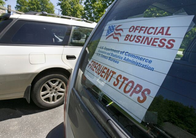A sign marks the vehicle of a census enumerator during Census training in Dummerston, Vt., Tuesday, May 19, 2009