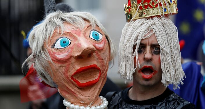 A protester holds an effigy of Britain's Prime Minister Theresa May during an anti-Brexit demonstration after Britain's Prime Minister Theresa May triggered the process by which the United Kingdom will leave the European Union, in London, Britain March 29, 2017.