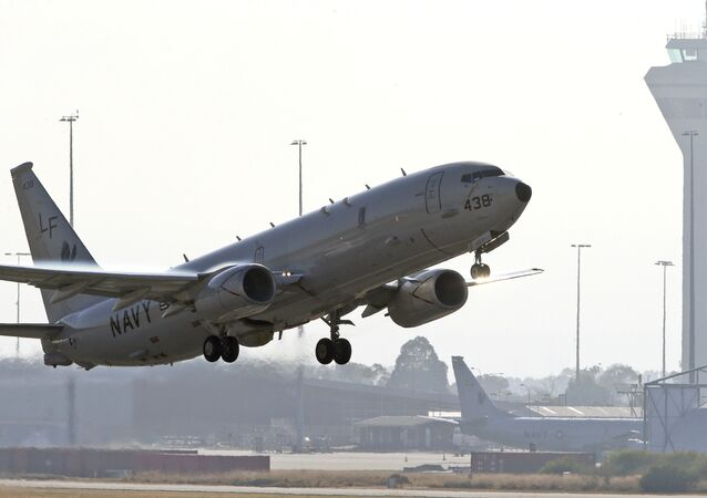 U.S. Navy P8 Poseidon takes off from Perth Airport