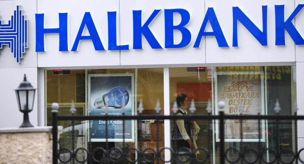 A view of a logo at the entrance of a Halkbank branch on Februrary 14, 2014, in Istanbul