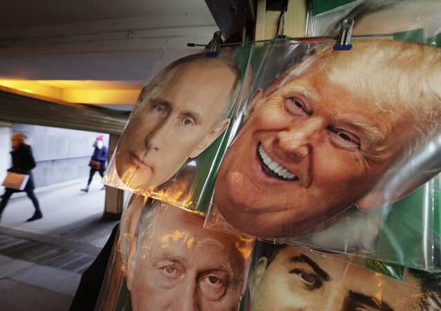 In this Monday, Feb. 20, 2017 photo face masks depicting Russian President Vladimir Putin and US President Donald Trump hang on sale at a souvenir street shop in St.Petersburg, Russia