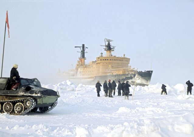 Arctic nuclear-powered icebreaker makes way for cargo ships