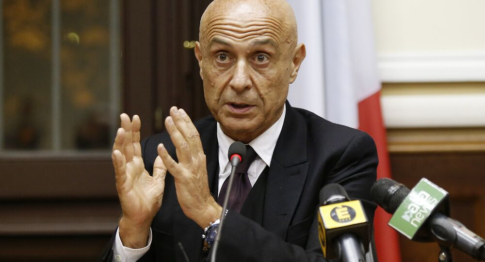 Italian Interior Minister Marco Minniti speaks during a press conference after a security meeting in Milan, Italy (File)