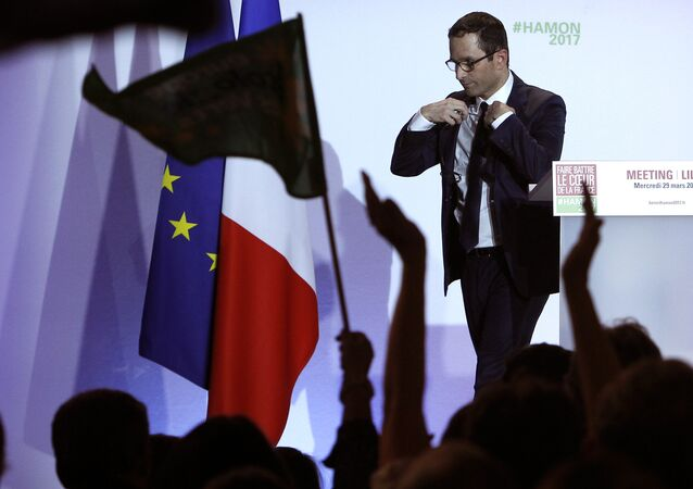 Presidential candidate for the French left's presidential, Benoit Hamon reacts at the end of his meeting in Lille, Northern France, Wednesday, March. 29, 2017