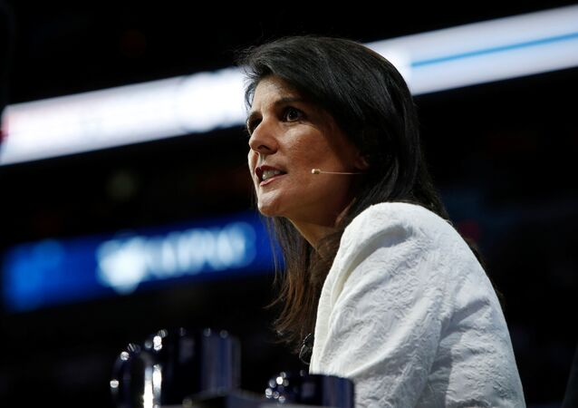 U.S. Ambassador to the United Nations NIkki Haley speaks to the American Israel Public Affairs Committee (AIPAC) policy conference in Washington, U.S., March 27, 2017