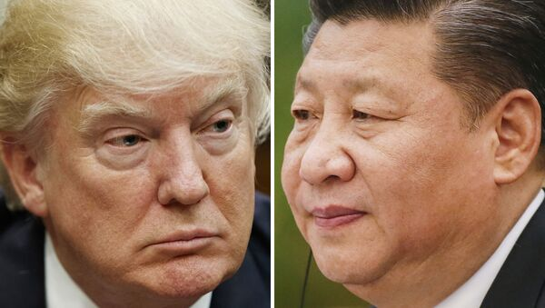 This combination of file photos shows U.S. President Donald Trump on March 28, 2017, in Washington, left, and Chinese President Xi Jinping on Feb. 22, 2017, in Beijing - Sputnik International
