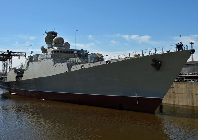 The floating-out ceremony at Zelenodolsk Shipyard for the Gepard 3.9 frigate built for Vietnam's Navy