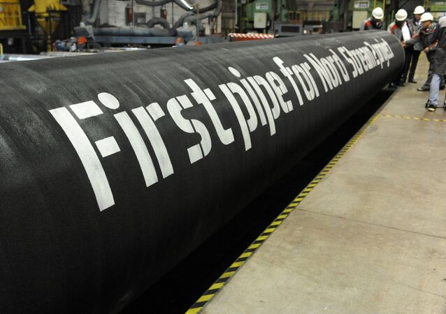 A handout by Nord Stream 2 claims to show the first pipes for the Nord Stream 2 project at a plant of OMK, which is one of the three pipe suppliers selected by Nord Stream 2 AG, in Vyksa, Russia, in this undated photo provided to Reuters on March 23, 2017