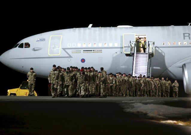 British soldiers arrive at Amari military air base in Estonia, March 17, 2017.