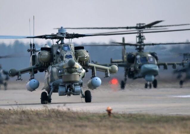 Mi-28N and Ka-52 helicopters
