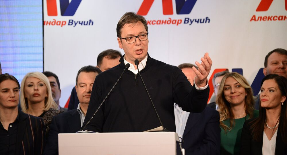 Serbian Prime Minister Aleksandar Vucic, the leading candidate in the Serbian presidential election, at his headquarters in Belgrade