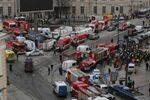 General view of emergency services attending the scene outside Sennaya Ploshchad metro station, following explosions in two train carriages in St. Petersburg, Russia April 3, 2017