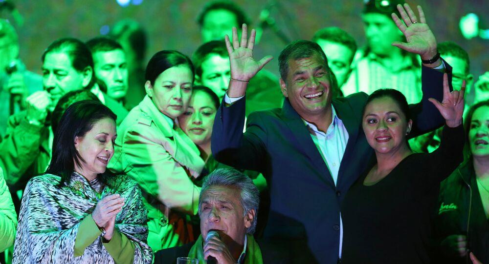 Ecuadorean presidential candidate Lenin Moreno (C) gives a speech alongside Ecuadorean President Rafael Correa (2nd R) and his wife Rocio Gonzalez (L) during a national election day in a hotel, in Quito, April 2, 2017