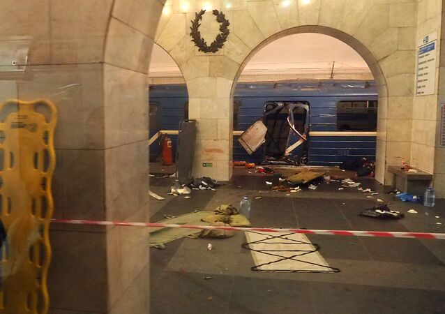 A picture shows the damaged train carriage at Technological Institute metro station in Saint Petersburg on April 3, 2017