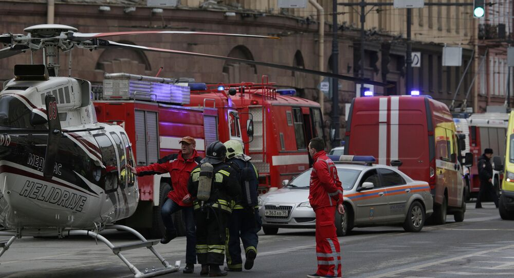 General view of emergency services attending the scene outside Sennaya Ploshchad metro station, following explosions in two train carriages in St. Petersburg, Russia, April 3, 2017