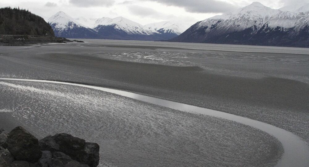 A ribbon of water cuts through the mud flats of Cook Inlet, just off the shore of Anchorage, Alaska. Natural gas is bubbling up from an underwater pipeline in Alaska's Cook Inlet.