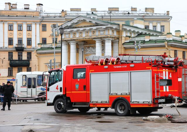 Fire engines seen outside the Technology Institute metro station in St.Petersburg, the venue of explosions which have resulted in 30 victims